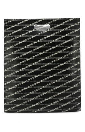 Кожаная сумка-шоппер с принтом Balenciaga. Цвет: черный