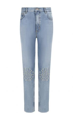 Джинсы прямого кроя с декоративной отделкой MiH Jeans. Цвет: синий