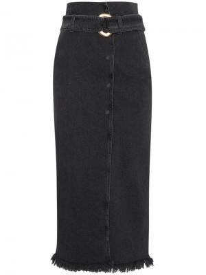 Джинсовая юбка с бахромой Nanushka. Цвет: чёрный