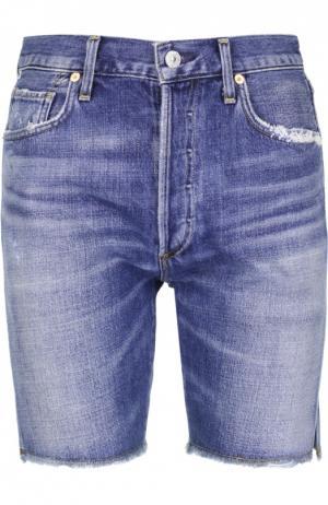 Джинсовые шорты с потертостями и бахромой Citizens Of Humanity. Цвет: синий