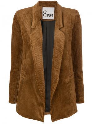 Вельветовый пиджак слим 8pm. Цвет: коричневый
