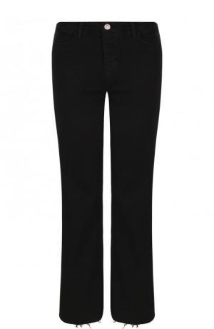 Укороченные расклешенные джинсы с потертостями MiH Jeans. Цвет: черный