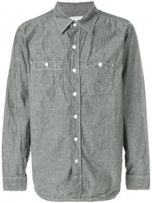 Рубашка с накладными карманами из ткани шамбре Engineered Garments. Цвет: серый
