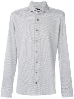 Классическая рубашка с косым воротником Hackett. Цвет: серый