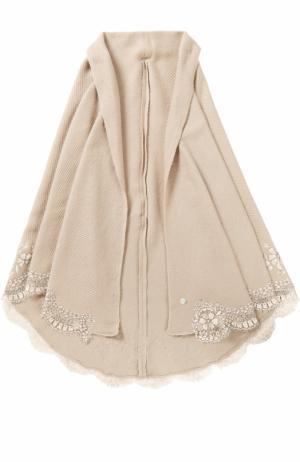 Шелковая шаль с кружевной отделкой Vintage Shades. Цвет: бежевый