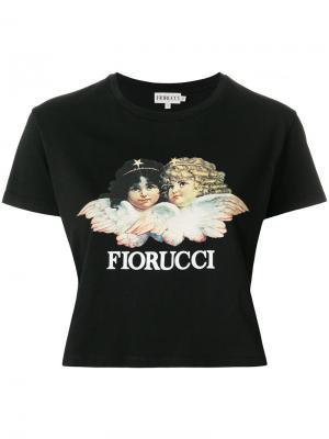Укороченная футболка с принтом-логотипом Fiorucci. Цвет: чёрный