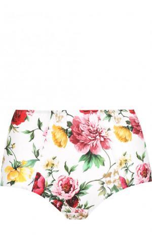 Плавки-бикини с завышенной талией и цветочным принтом Dolce & Gabbana. Цвет: белый