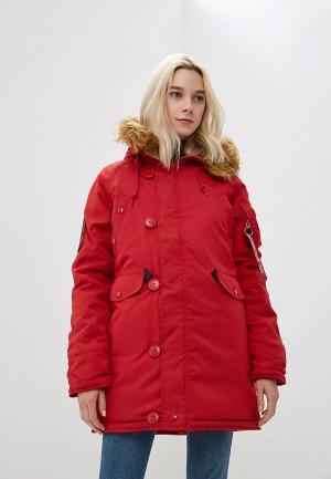 Куртка утепленная Alpha Industries. Цвет: красный