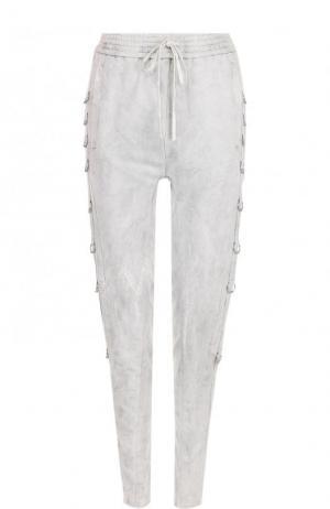 Хлопковые брюки с эластичным поясом Roque. Цвет: светло-серый