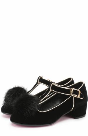 Комбинированные туфли с помпоном Missouri. Цвет: черный