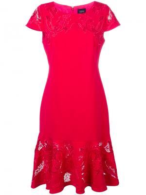 Платье фиштейл с вышивкой Marchesa Notte. Цвет: розовый и фиолетовый