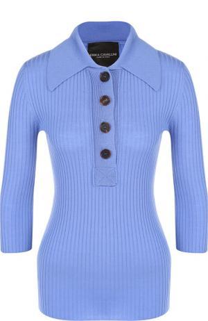 Шерстяной пуловер с укороченным рукавом Erika Cavallini. Цвет: голубой