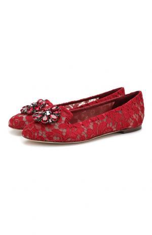 Кружевные слиперы Rainbow Lace Dolce & Gabbana. Цвет: бордовый