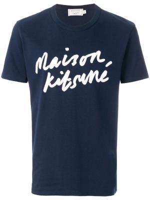 Футболка с принтом логотипа Maison Kitsuné. Цвет: синий