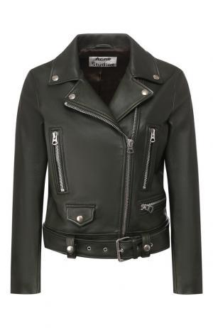 Кожаная куртка с косой молнией Acne Studios. Цвет: зеленый
