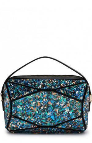 Кожаная сумка с отделкой Elie Saab. Цвет: разноцветный