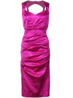 Приталенное платье со сборками Nicole Miller. Цвет: розовый и фиолетовый