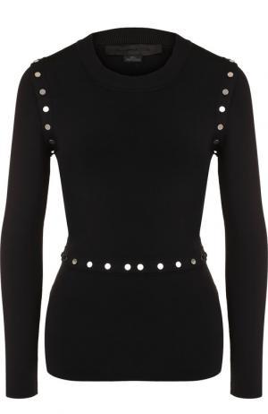 Вязаный пуловер с круглым вырезом на кнопках Alexander Wang. Цвет: черный