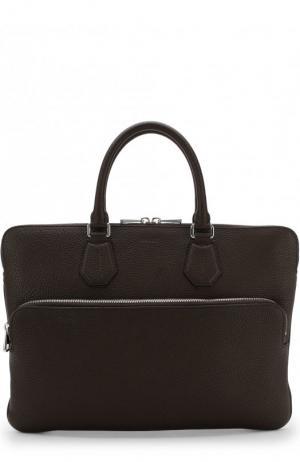 Кожаная сумка для ноутбука с плечевым ремнем Bally. Цвет: коричневый
