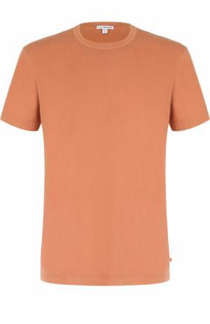 Хлопковая футболка с круглым вырезом James Perse. Цвет: оранжевый
