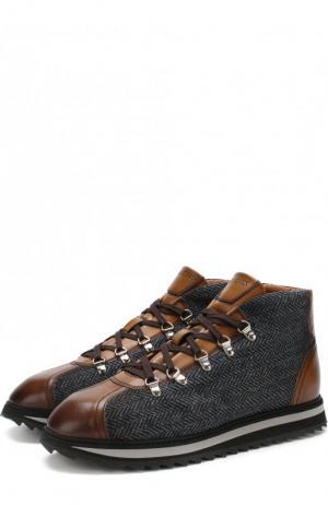 Комбинированные ботинки на шнуровке Doucals Doucal's. Цвет: серый