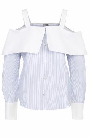 Блуза в полоску с открытыми плечами Clu. Цвет: голубой