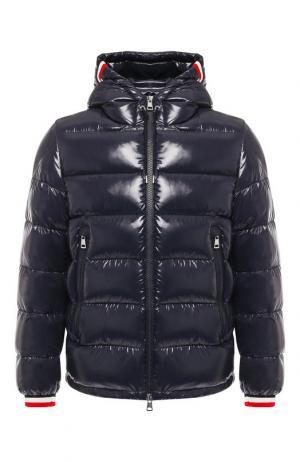 Пуховая куртка Alberic на молнии с капюшоном Moncler. Цвет: темно-синий