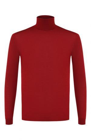 Однотонная водолазка из смеси шерсти и шелка Daniele Fiesoli. Цвет: бордовый
