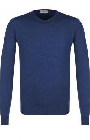 Пуловер из шерсти тонкой вязки John Smedley. Цвет: синий