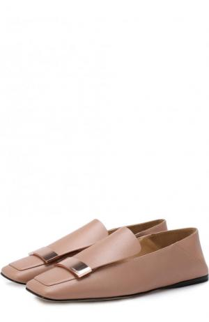 Кожаные слиперы с металлической отделкой Sergio Rossi. Цвет: пепельно-розовый