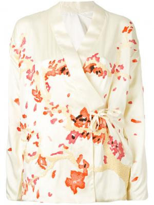 Пиджак с запахом и вышивкой Maharishi. Цвет: жёлтый и оранжевый