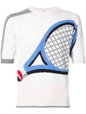 Футболка с теннисной ракеткой Thom Browne. Цвет: белый
