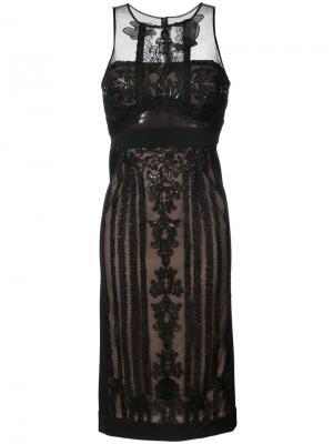 Кружевное платье миди с вышивкой Marchesa Notte. Цвет: чёрный