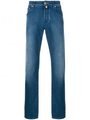 Слегка расклешенные джинсы с потертостями Jacob Cohen. Цвет: синий