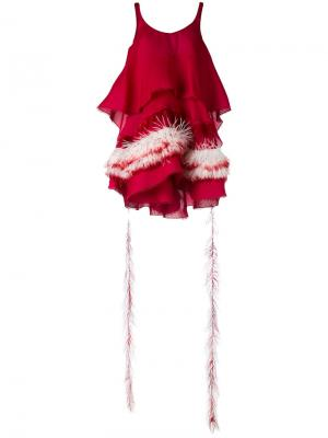 Платье с отделкой перьями Antonio Berardi. Цвет: розовый и фиолетовый