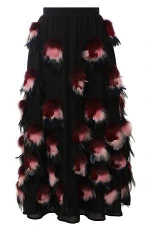 Шелковая юбка с меховой отделкой Elie Saab. Цвет: разноцветный