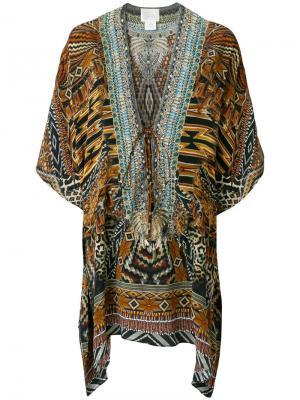 Расклешенное платье с принтом Camilla. Цвет: коричневый