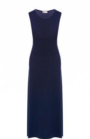 Приталенное кашемировое платье-миди без рукавов Colombo. Цвет: синий