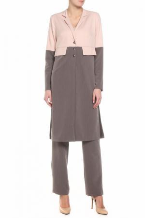 Костюм: тренч, брюки Adzhedo. Цвет: коричневый