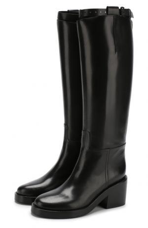 Кожаные сапоги на устойчивом каблуке Ann Demeulemeester. Цвет: черный