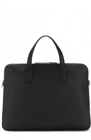 Кожаная сумка для ноутбука BOSS. Цвет: черный