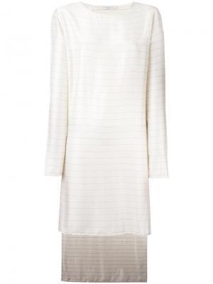 Свободное полосатое платье Lucio Vanotti. Цвет: белый