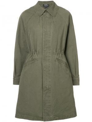 Пальто на молнии A.P.C.. Цвет: зелёный