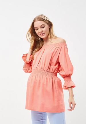 Блуза MammySize. Цвет: коралловый