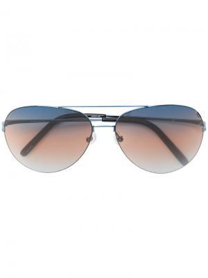 Солнцезащитные очки с контрастной полоской на линзах Matthew Williamson. Цвет: чёрный