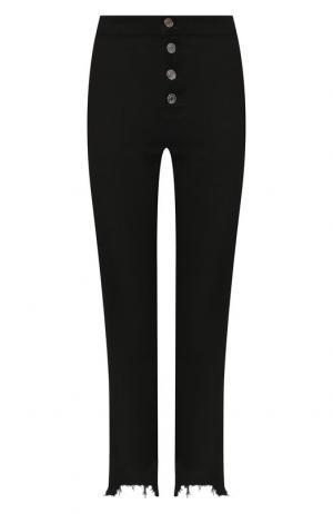 Укороченные джинсы с бахромой RTA. Цвет: черный