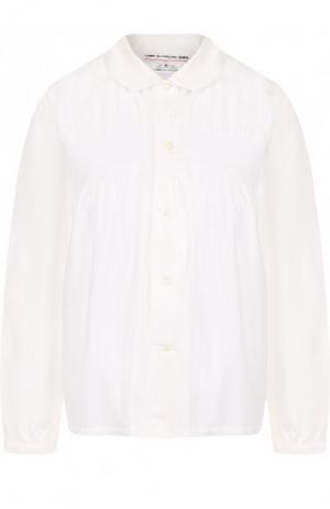 Однотонная хлопковая блуза с драпировкой Comme des Garcons GIRL. Цвет: белый