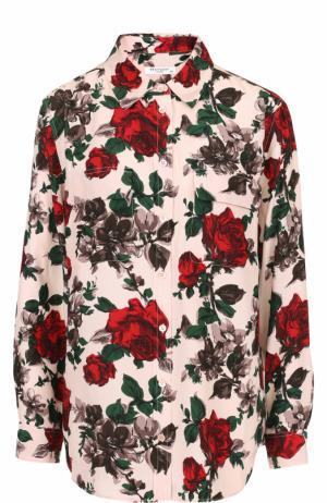 Шелковая блуза свободного кроя с принтом Equipment. Цвет: разноцветный