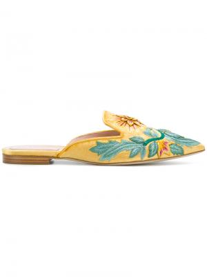 Мюли с заостренным носком и цветочным принтом Alberta Ferretti. Цвет: жёлтый и оранжевый