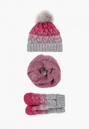 Шапка, снуд и варежки TrendyAngel. Цвет: розовый